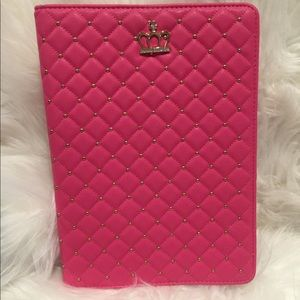 Crown Quilted Tablet Case with Gold Accents
